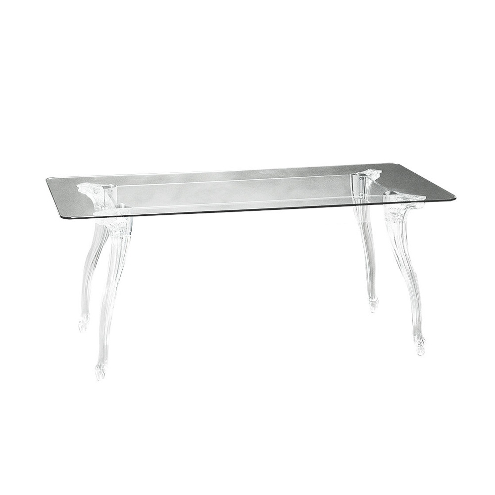 Tavolo bella con piano in vetro trasparente e gambe in for Tavolo trasparente