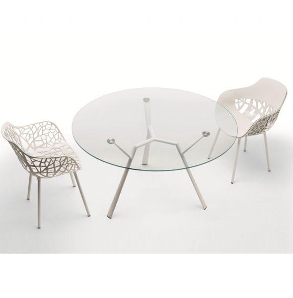 Tavolo radice quadra rotondo cristallo in alluminio for Tavolo cristallo rotondo design