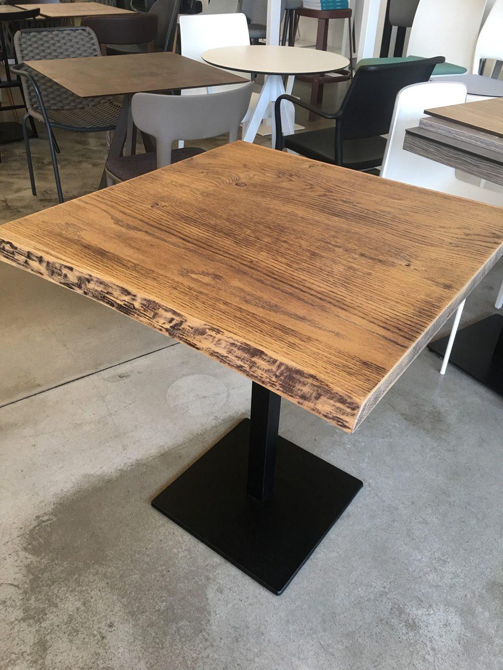 Tavolo Piano Legno Corteccia con Base Centrale in metallo