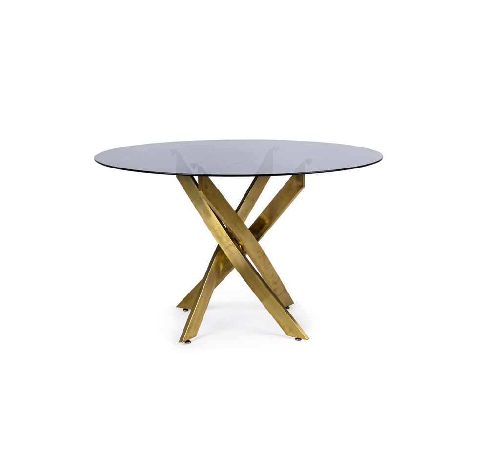 tavolo in vetro e ottone