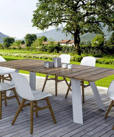 tavolo doghe teak e alluminio